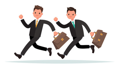Concept of competition in business. Two men are running. Who is faster