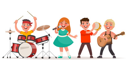 Musical children's band on a white background. Singer and musicians
