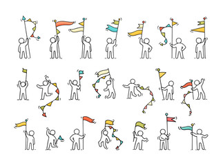 et of sketch little people with party symbols