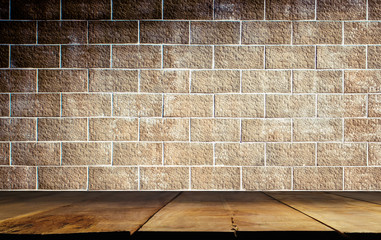 empty wooden shelves on brick concrete wall ,Background for product display