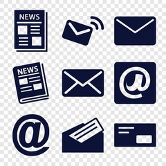Set of 9 newsletter filled icons
