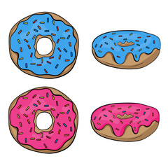 Donuts illustration two views. Cartoon hand drawn.