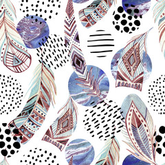 Poster Graphic Prints Watercolor tribal feathers seamless pattern with abstract marble and grunge shapes