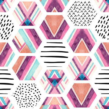 Watercolor hexagon seamless pattern with geometric ornamental elements