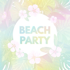 Light vector tropical background with palm leaves and exotic flowers.