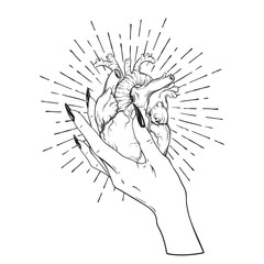 Human heart in graceful female hand isolated. Sticker, print or blackwork tattoo hand drawn vector illustration