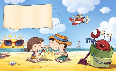 Niños en la playa. Escena de verano