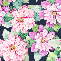 Watercolor floral botanical seamless pattern. Good for printing
