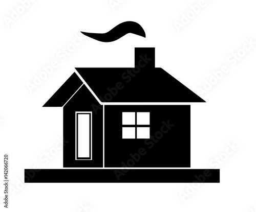 Quot Black House Silhouette Vector With Chimney And Smoke From