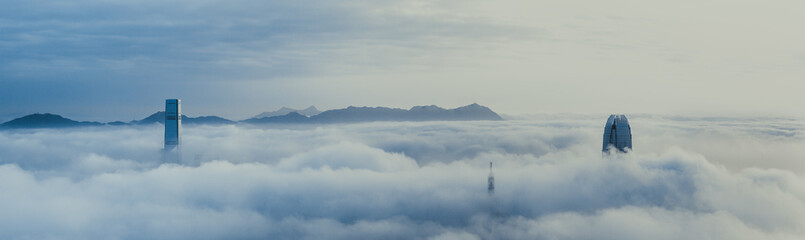 Fototapete - Misty Hong Kong City in spring seasons