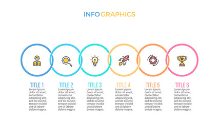 Business infographics. Presentation slide, chart, diagram with 6 steps, circles.
