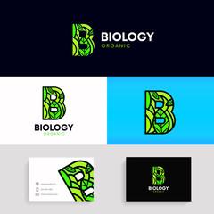 Flat letter B logo organic sign ecology icon. Natural product emblem vector design.