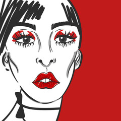 Fashion girl face portrait with red lips