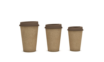 Brown cardboard coffee cups on light background with a copy space for text, ecology concept, 3d illustration.