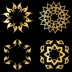 Gold Lotus thai logo vector illustration art set design