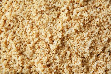 Boiled sprouted organic white quinoa grains, closeup
