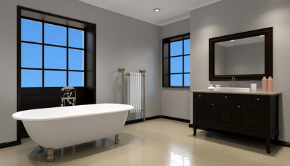 pano interior of modern bathroom. 3d rendering