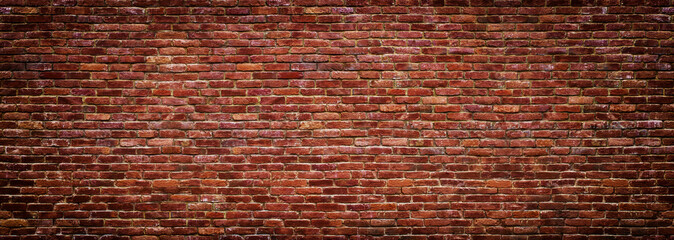 Photo sur Aluminium Brick wall panoramic view of masonry, brick wall as background