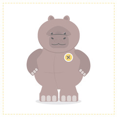 Hippo, a child's funny toy. Plush Hippo. Cartoon vector
