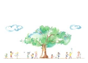 公園の大木、世界の子どもたち、雲