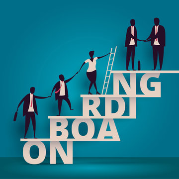 Business onboarding concept. HR manager hiring employee or workers for job. Recruiting staff or personnel in company. Organizational socialization vector illustration. Talent acquisition illustration.