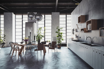 3D interior scene of spacious kitchen