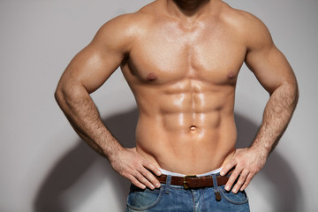 Man Fit Body. Closeup Sexy Fitness Male Body With Muscular Abs