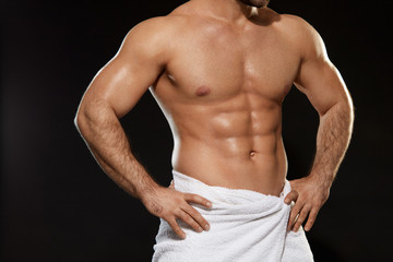 Athletic Body Of Perfect Sexy Man In Towel. Bodybuilding