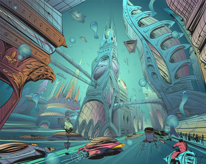 Underwater fantastic city. Concept art illustration. Sketch gaming design. Fantastic vehicles, trees, people. Hand drawn vector painting.