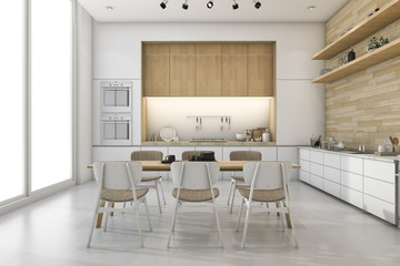 3d rendering white loft kitchen with nice decor dining zone