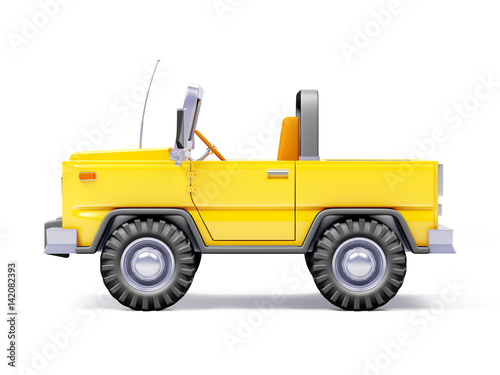 Cartoon Safari Suv Yellow Side Stock Photo And Royalty Free