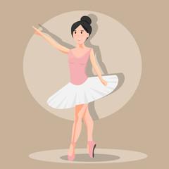 Ballerina in spotlight on brown background