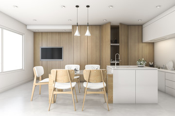 3d rendering wood white minimal kitchen with bar