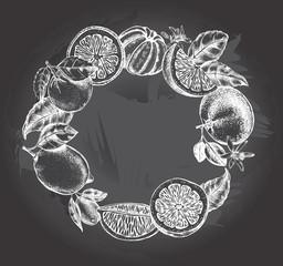 Background with citrus fruits. Wreath of oranges, lemons, mandarins and leaves. Template for design leaflets, labels, banners. Ink Hand drawn vector illustration.