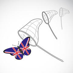 Butterfly with the flag of Great Britain and landing net