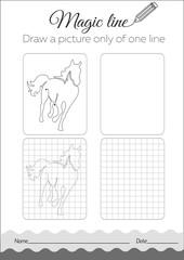 Coloring book horse Black