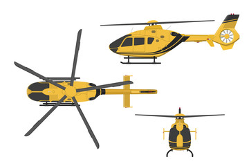 Orange helicopter on a white background. Side, front, top view