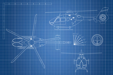 Engineering blueprint of helicopter. Helicopters view: top, side, front. Industrial drawing