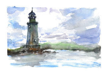 Watercolor  lighthouse in the ocean with dramatic sky. Landscape watercolor illustration.