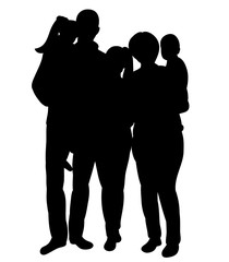 black silhouette of a family and three children