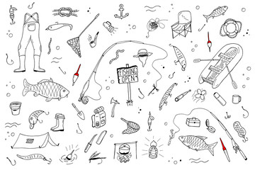 Hand drawn fishing set.Fishing stuff in doodle style.