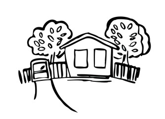 A house in the village series of illustrations