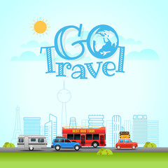 Modern Cityscape with different vehicle. Vector illustration. Go Travel concept