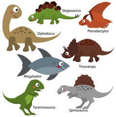 Cute dinosaurs set. Cartoon dino characters, isolated elements for kids design. Diplodocus, Tyrannosaurus, Triceratops and other prehistoric creatures