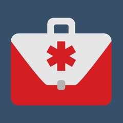 Medical bag. Object flat icon. Vector Illustration.
