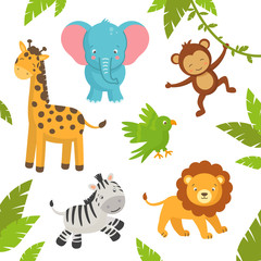 Vector Illustration of Cute Jungle Animals
