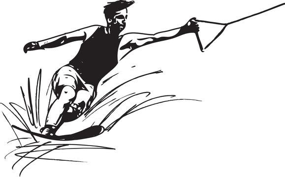 Water skiing illustration