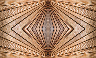 Abstract symmetry brown wooden pattern as background. Wall mural