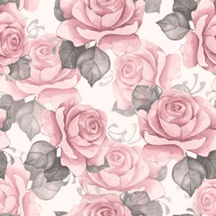 Hand drawn watercolor floral seamless pattern. Vintage flowers