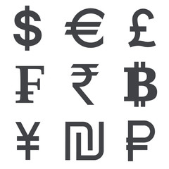Currency vector icon set
